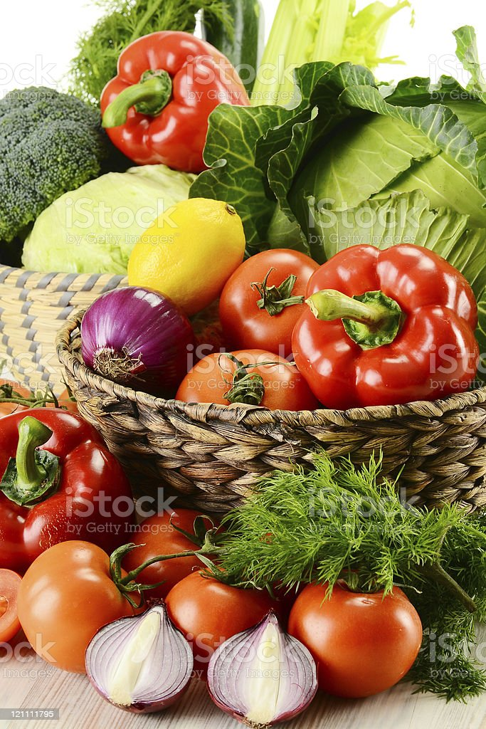 A cornucopia of vegetables in wicker baskets royalty-free stock photo