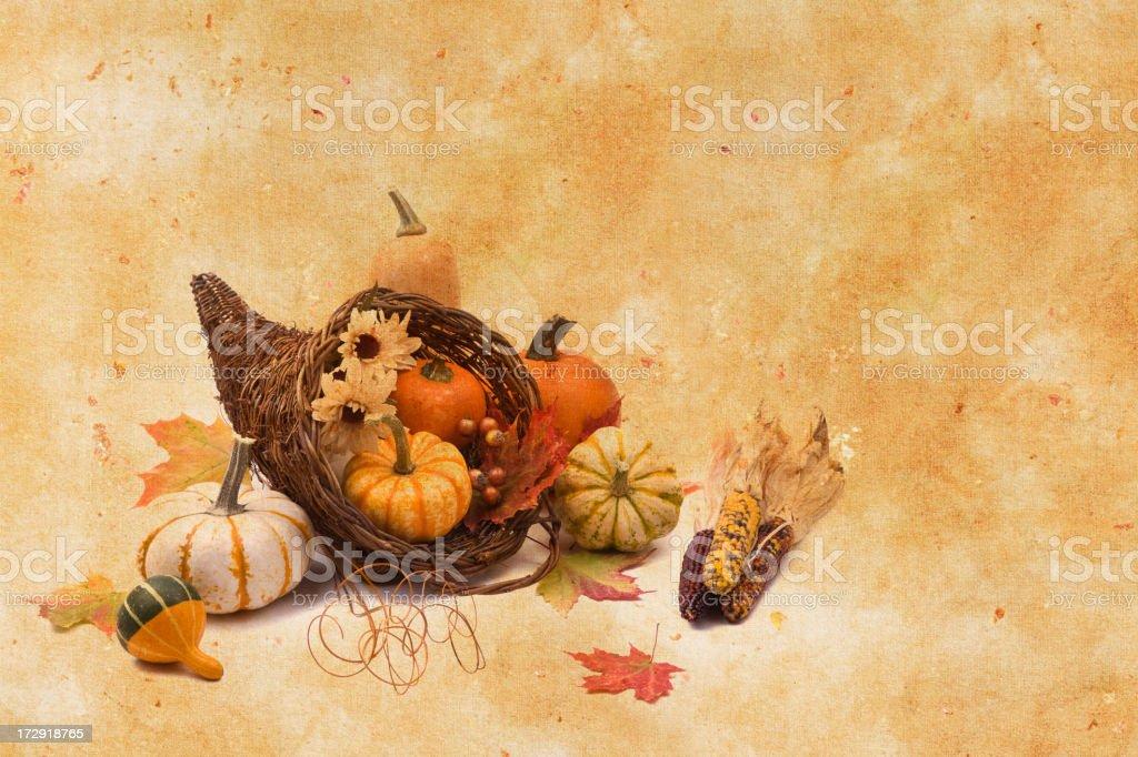 Cornucopia on Texture Background stock photo
