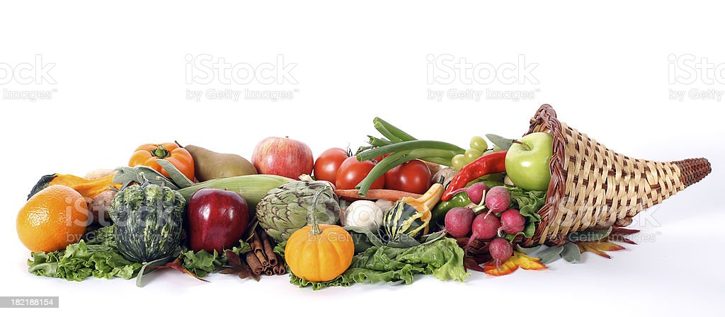 Cornucopia with fresh fruits and vegetables isolated on white royalty-free stock photo