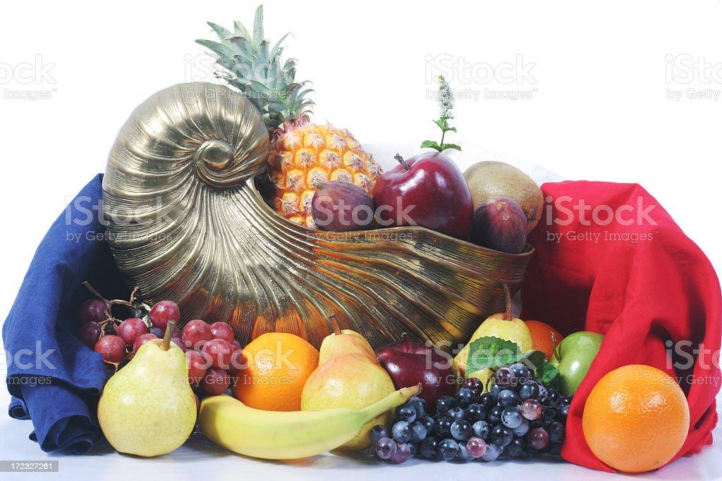 Cornucopia with fruits stock photo