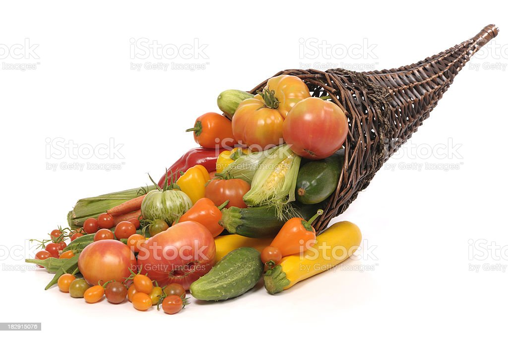 Cornucopia with home grown vegetables royalty-free stock photo