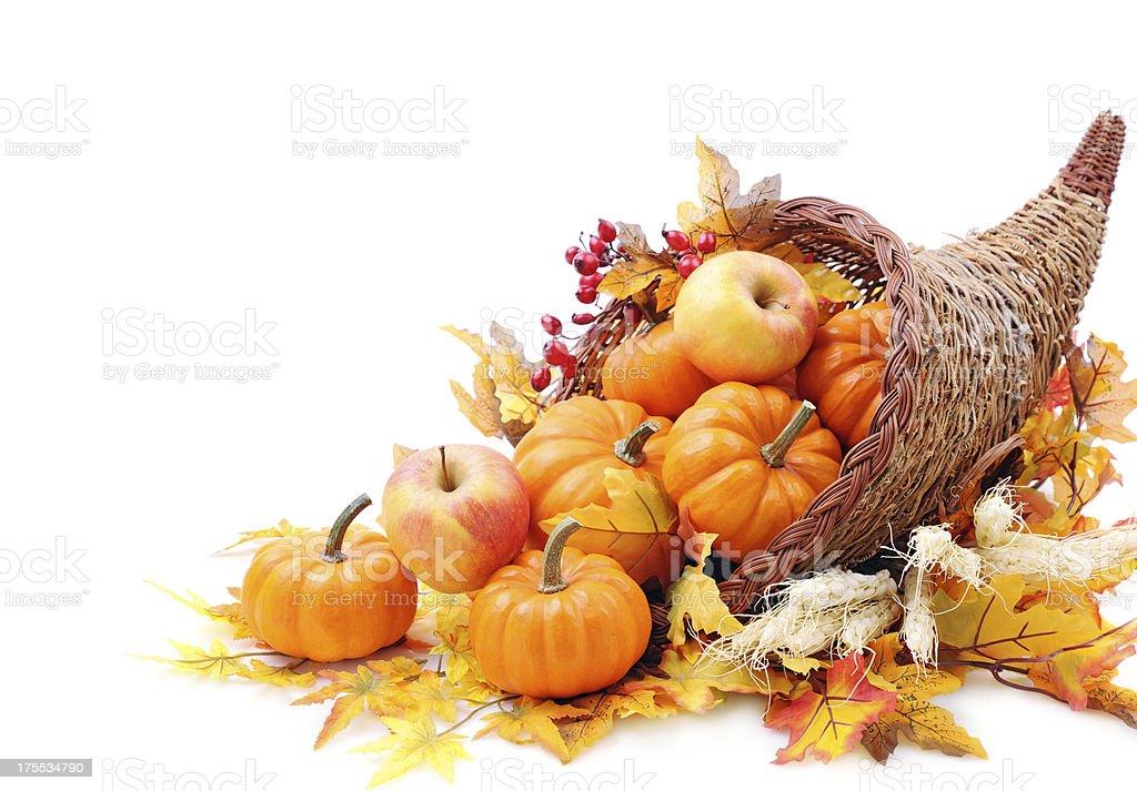 Cornucopia with pumpkins royalty-free stock photo