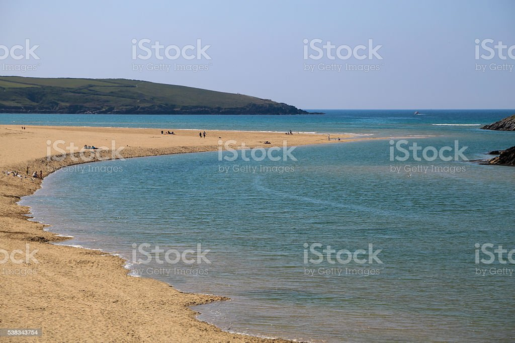Cornwall England with sand and blue sky. stock photo