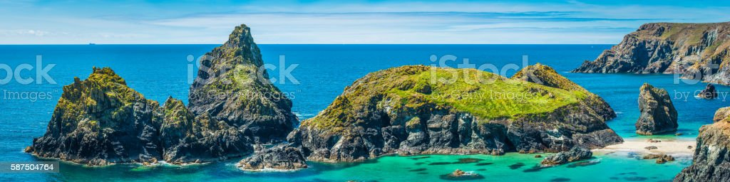 Cornwall idyllic summer ocean beach bay panorama Kynance Cove UK stock photo