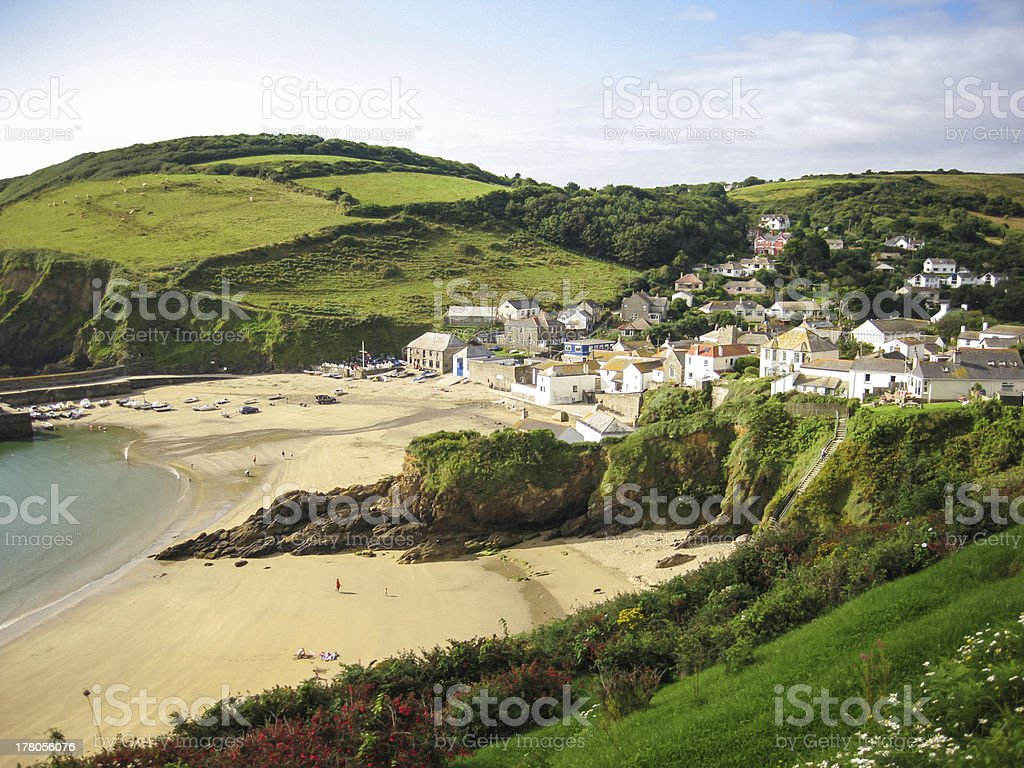cornwall small village and beach uk stock photo