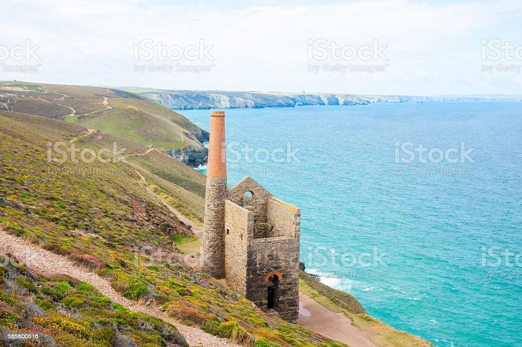 Cornwall tin mine ruins stock photo