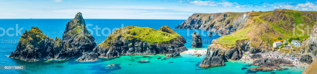 Cornwall turquoise ocean bay sandy beaches Kynance Cove panorama UK stock photo