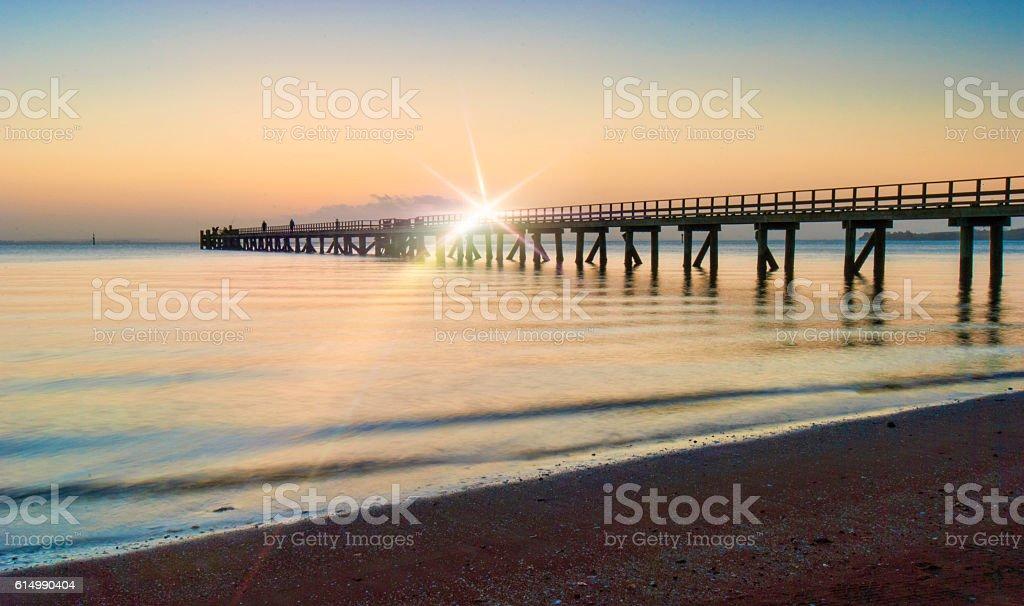 Cornwallis pier with flare stock photo