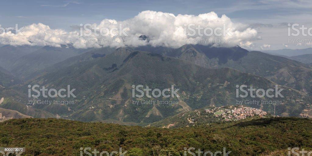 Coroico among the mountains stock photo