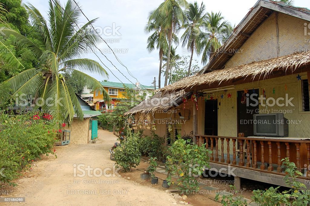 Coron town street, Busuanga stock photo