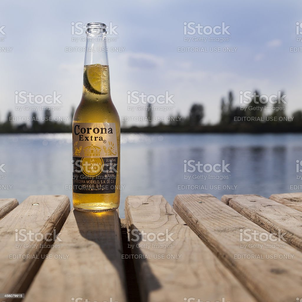 Corona Beer Against the Sun. stock photo