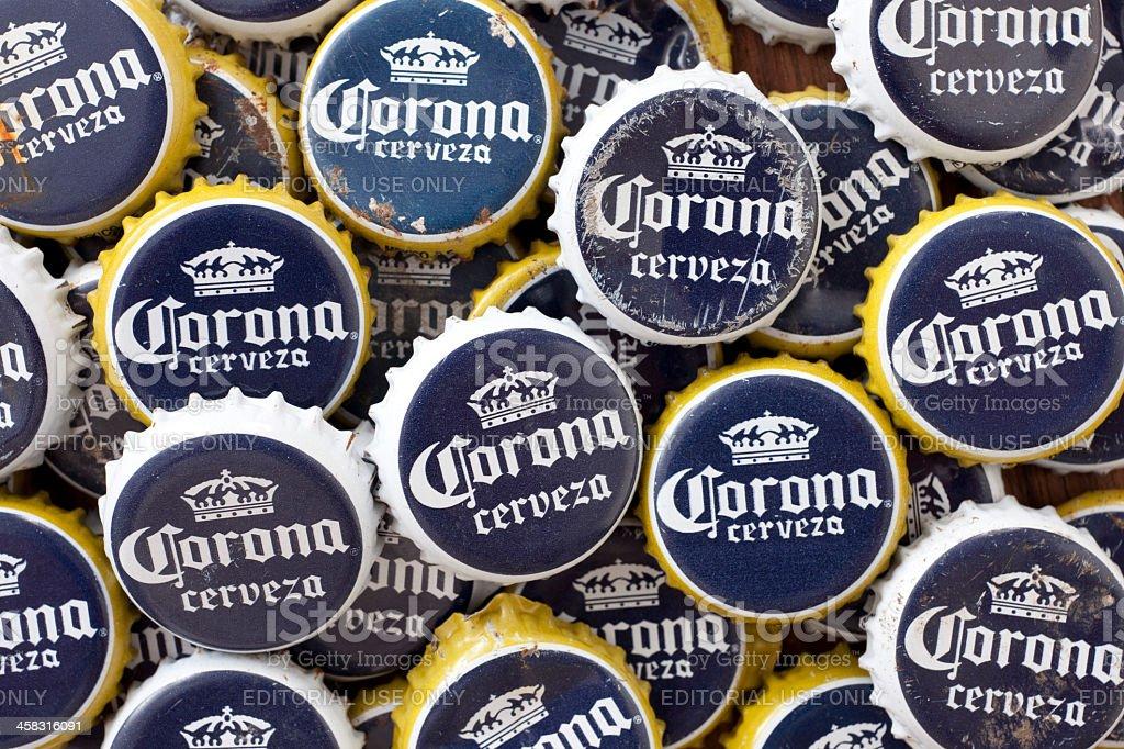 Corona beer crown caps royalty-free stock photo