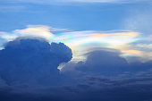 corona iridescent on cloudy