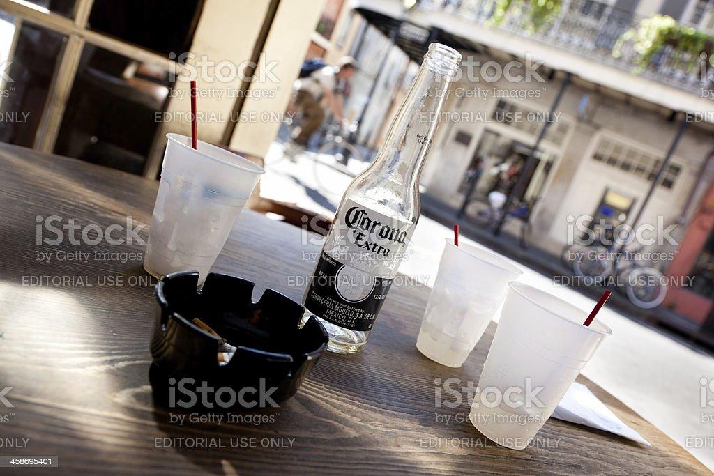 Corona on a table royalty-free stock photo