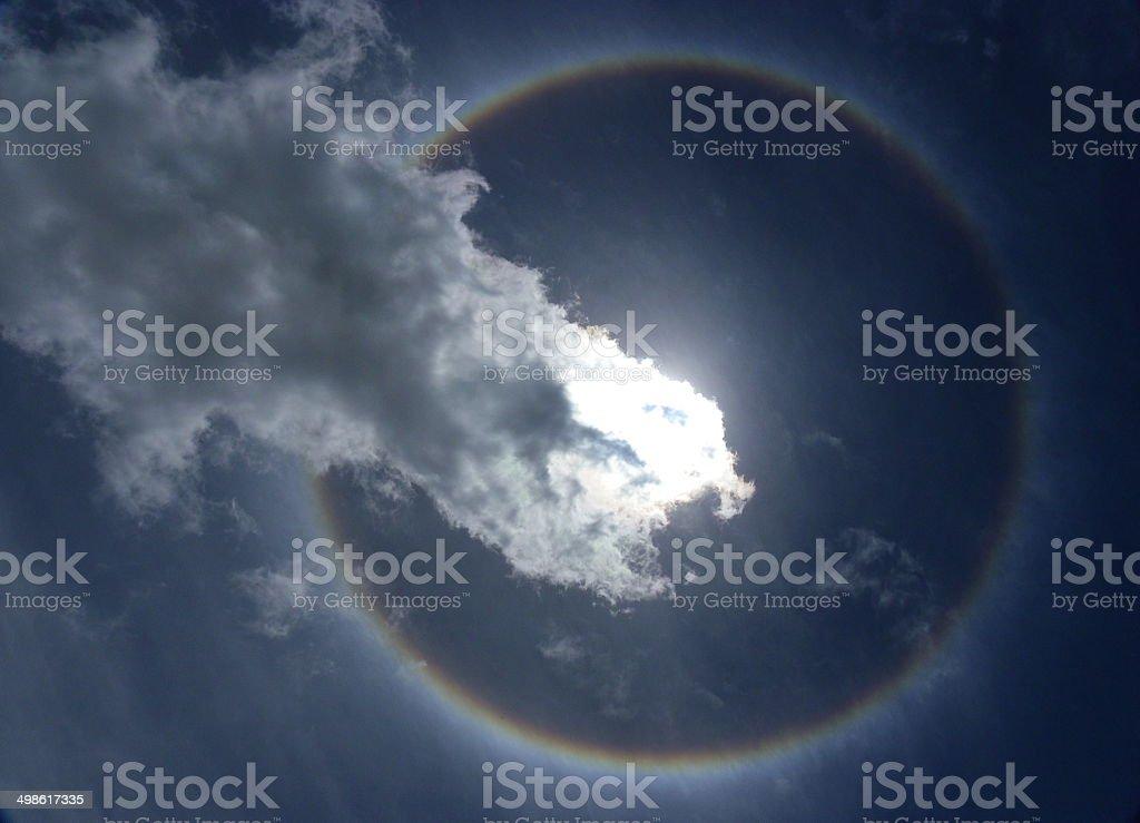Corona, ring around the sun with sky stock photo