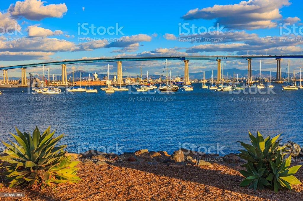 Coronado Bay Bridge with recreational boats of San Diego, CA stock photo