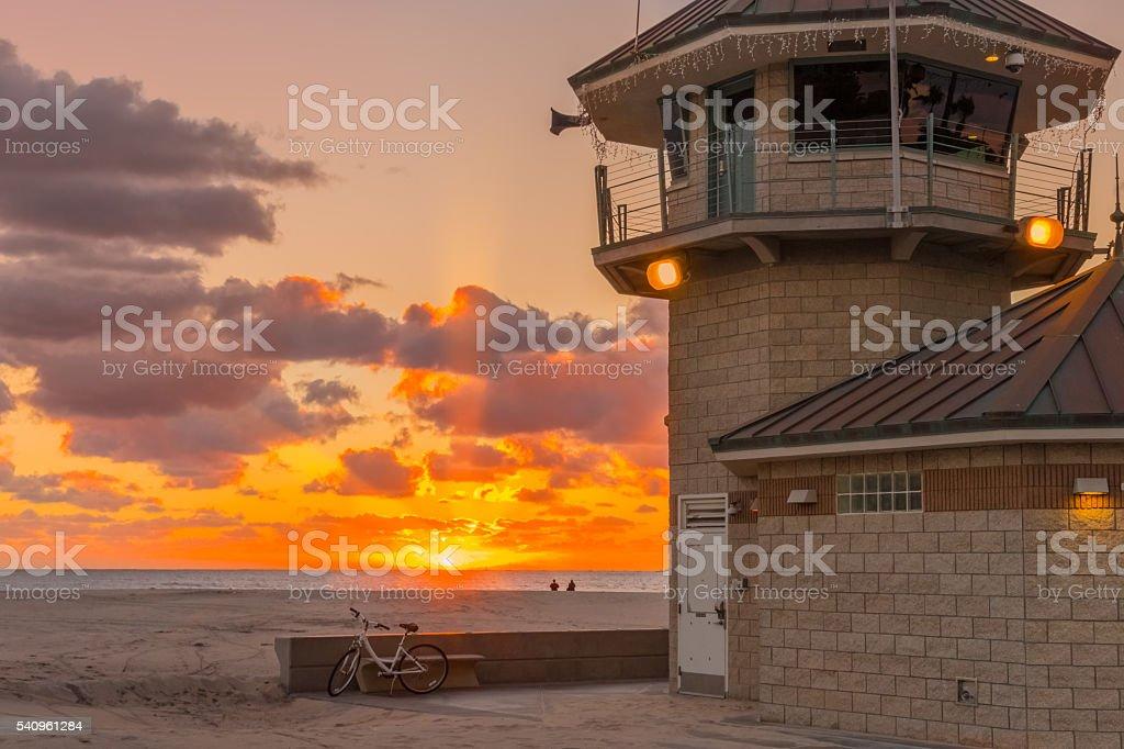 Coronado Beach lifeguard station at sunset,CA (P) stock photo