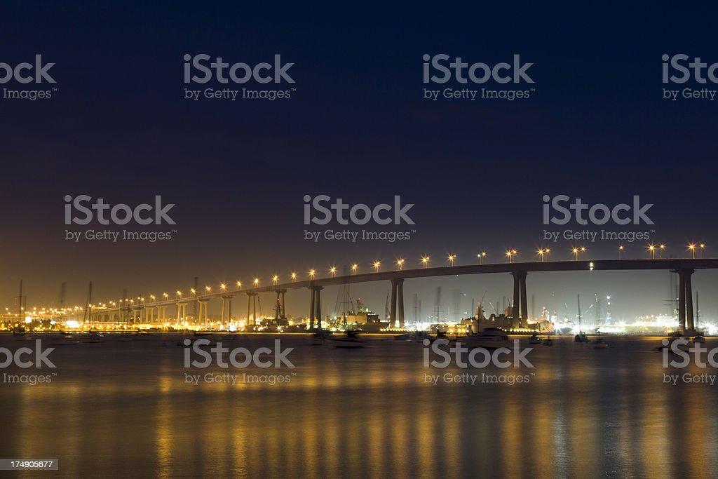 Coronado Bridge, San Diego, Night stock photo