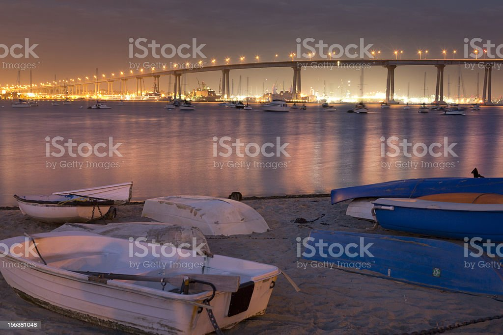 Coronado Bridge, San Diego, Night, Sunset stock photo