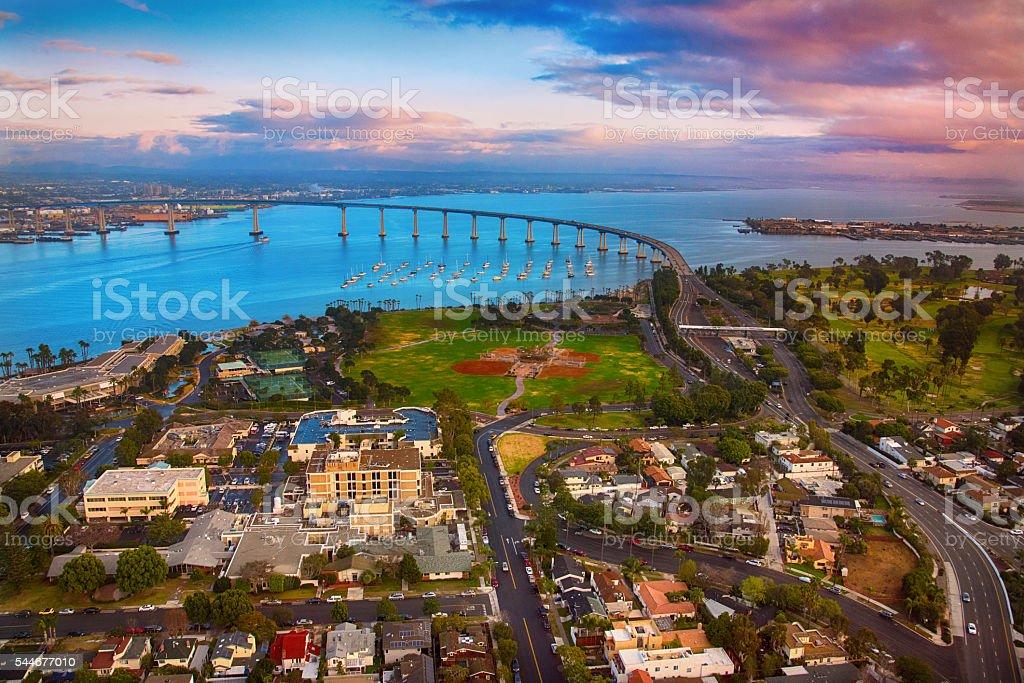Coronado California and Bridge Aerial at Dusk stock photo