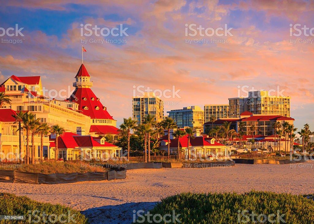 Coronado Island and beach at sunset San Diego, California stock photo