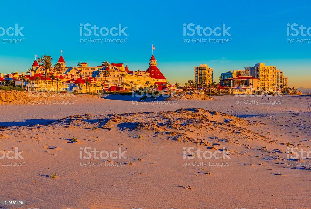 Coronado Island and beach at sunset San Diego,CA (P) stock photo