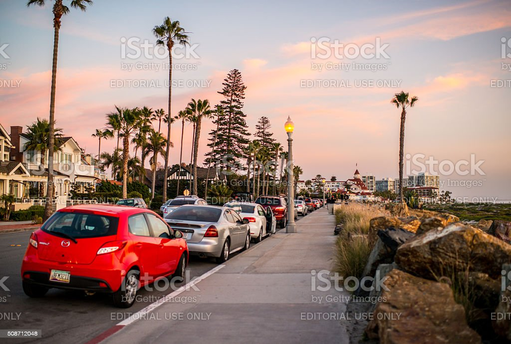 Coronado Island Beach Boardwalk, USA stock photo