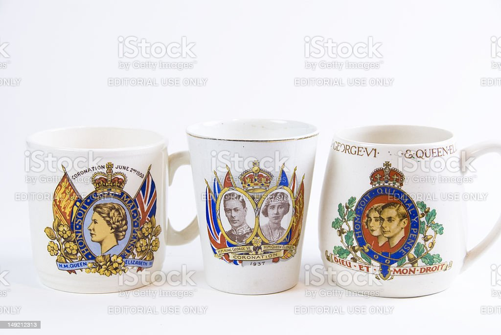 coronation mugs for queen mary  and elizabeth king george royalty-free stock photo