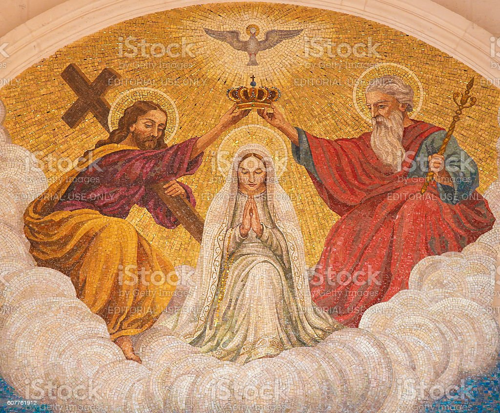 Coronation of Mother Mary by the Holy Trinity stock photo