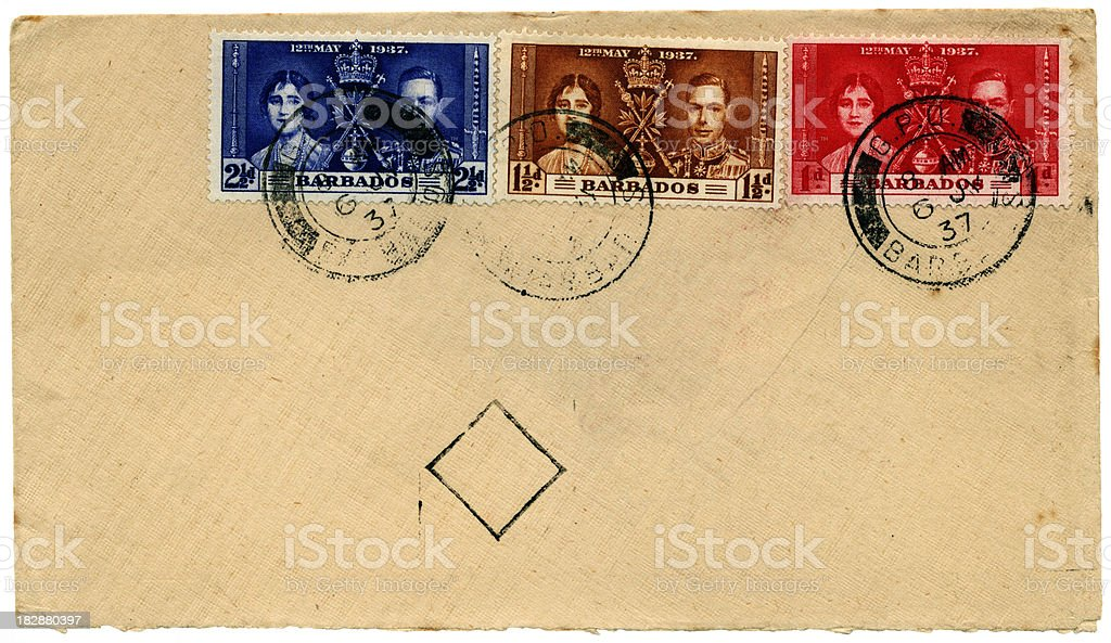 1937 Coronation stamps on envelope from Barbados to England stock photo