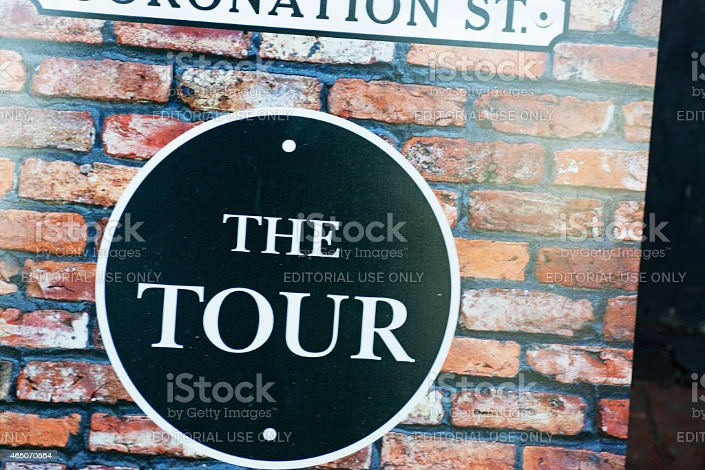 Coronation street tour sign stock photo