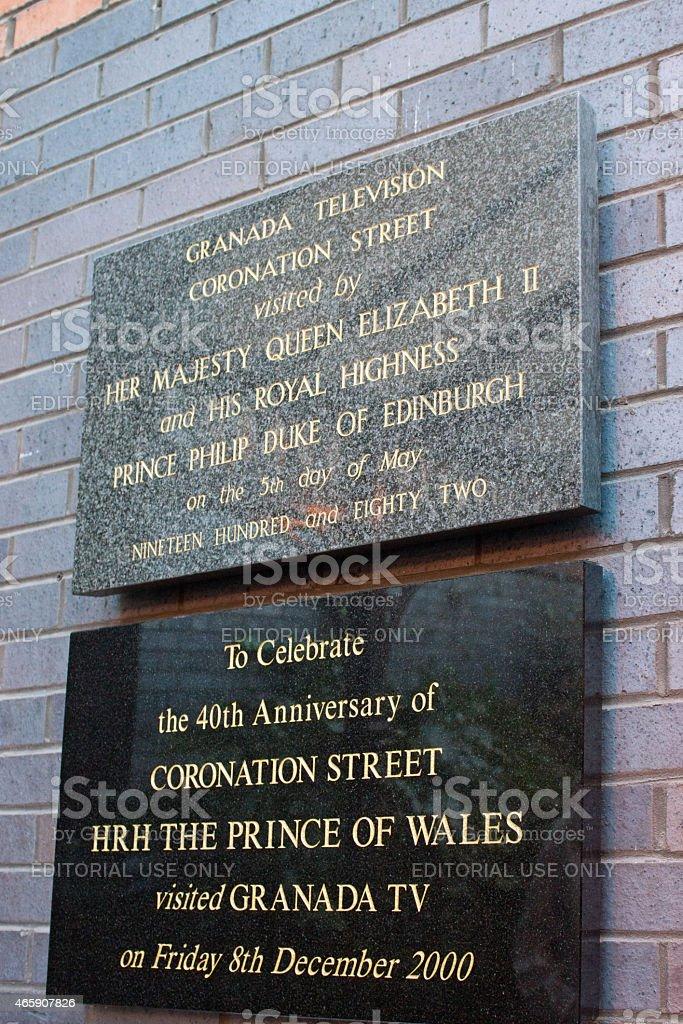 Coronation street tour sign stock photo
