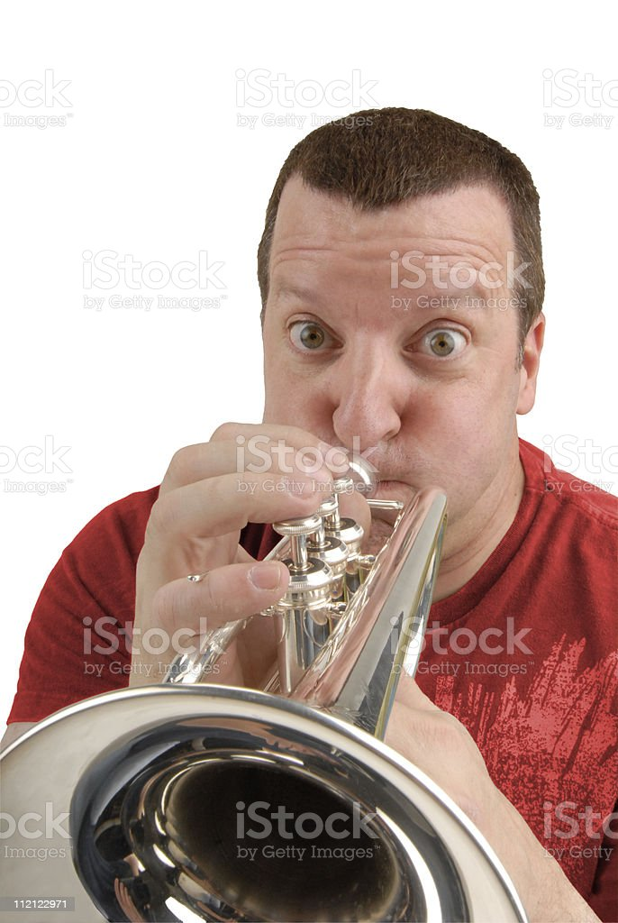 Coronet musician stock photo