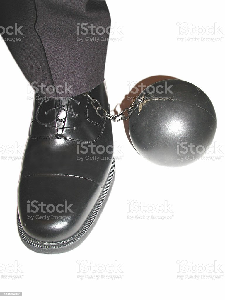 corporate ball and chain (with paths) royalty-free stock photo