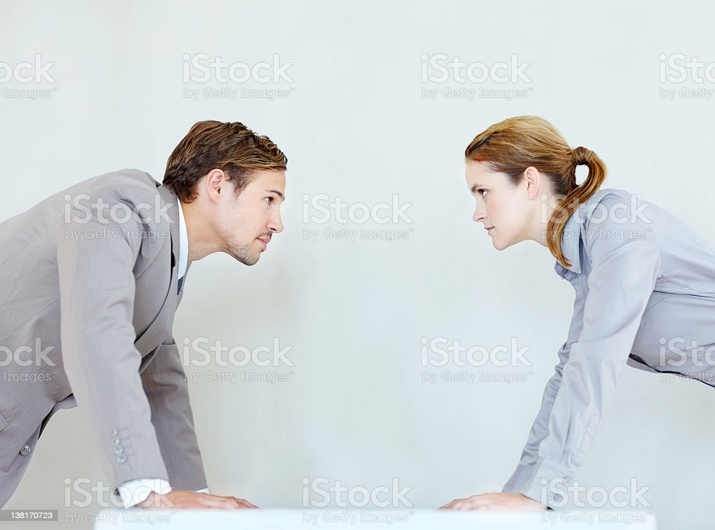 A corporate battle of the sexes royalty-free stock photo