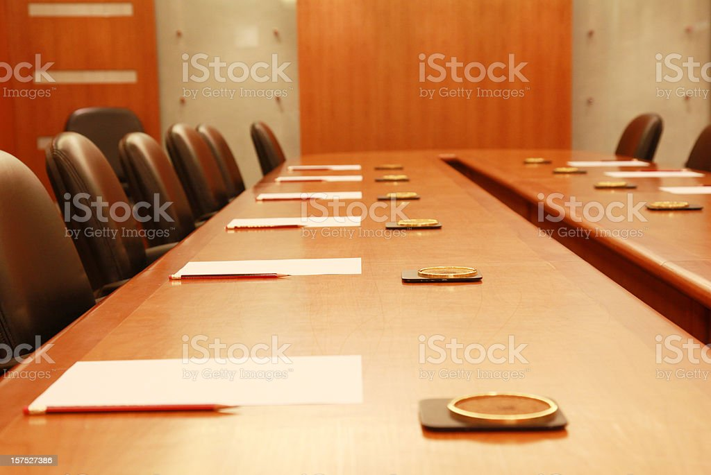 Corporate Board Room (Focus on the second cup holder) royalty-free stock photo