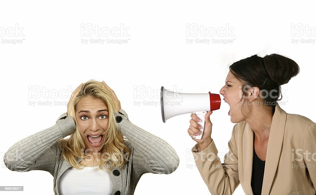 Corporate Boss Screaming at Her Subordinate royalty-free stock photo