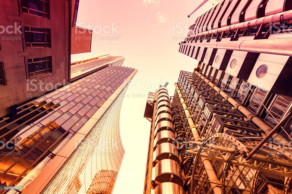 Corporate buildings in the City of London stock photo