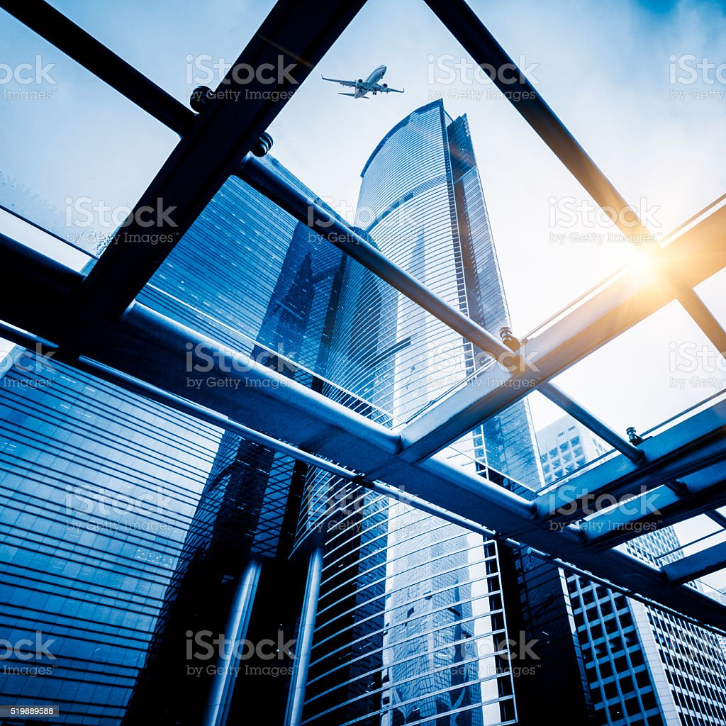 corporate buildings of hong kong stock photo