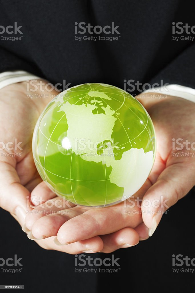 Corporate Business Hands Holding Earth Friendly Green World Fragile Globe royalty-free stock photo