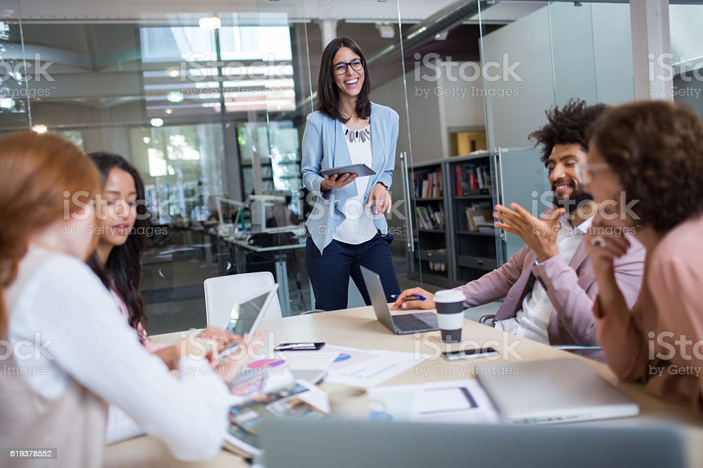 Corporate business meeting in board room. stock photo