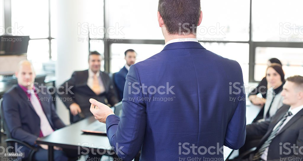 Corporate business team office meeting. stock photo