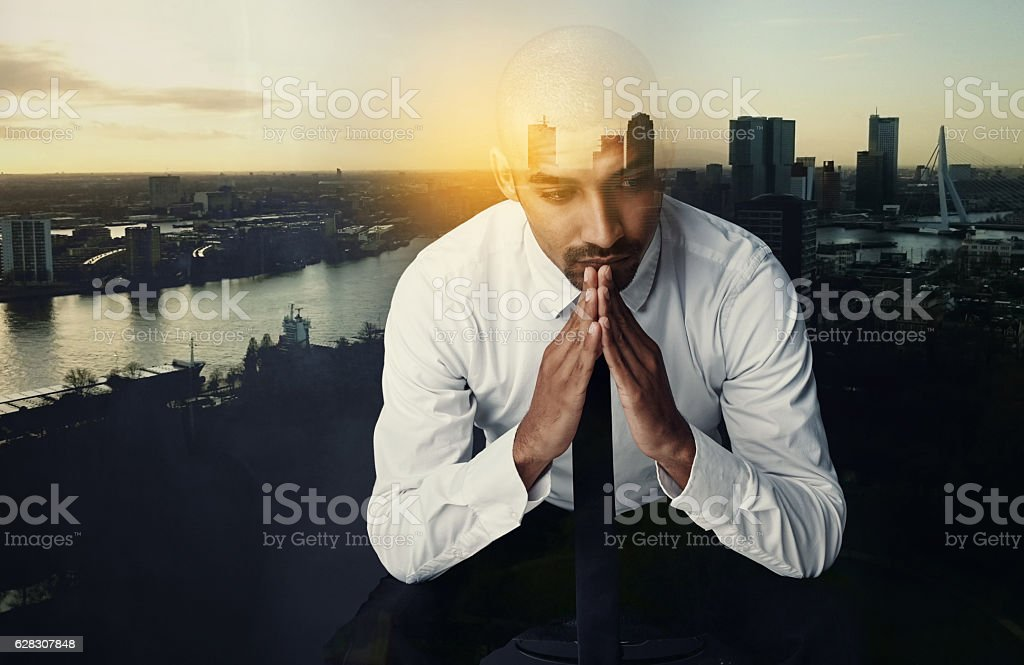Corporate contemplation in the city stock photo