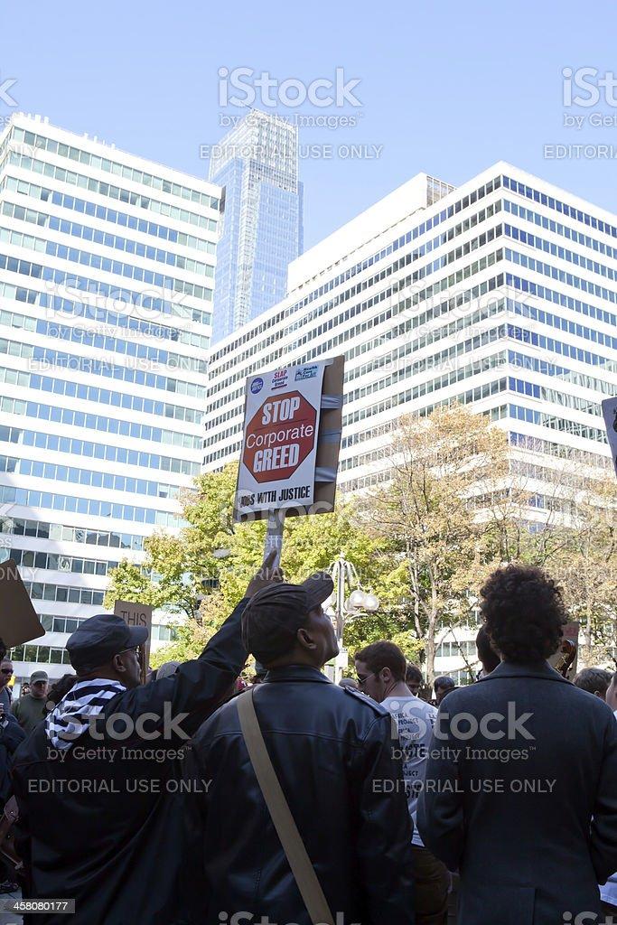 Corporate Greed Protest Philadelphia Pa royalty-free stock photo