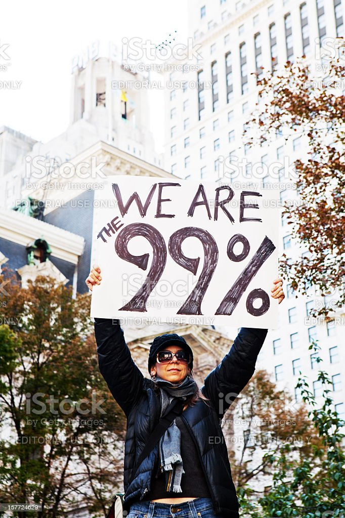 Corporate Greed Protest - We are the 99% stock photo
