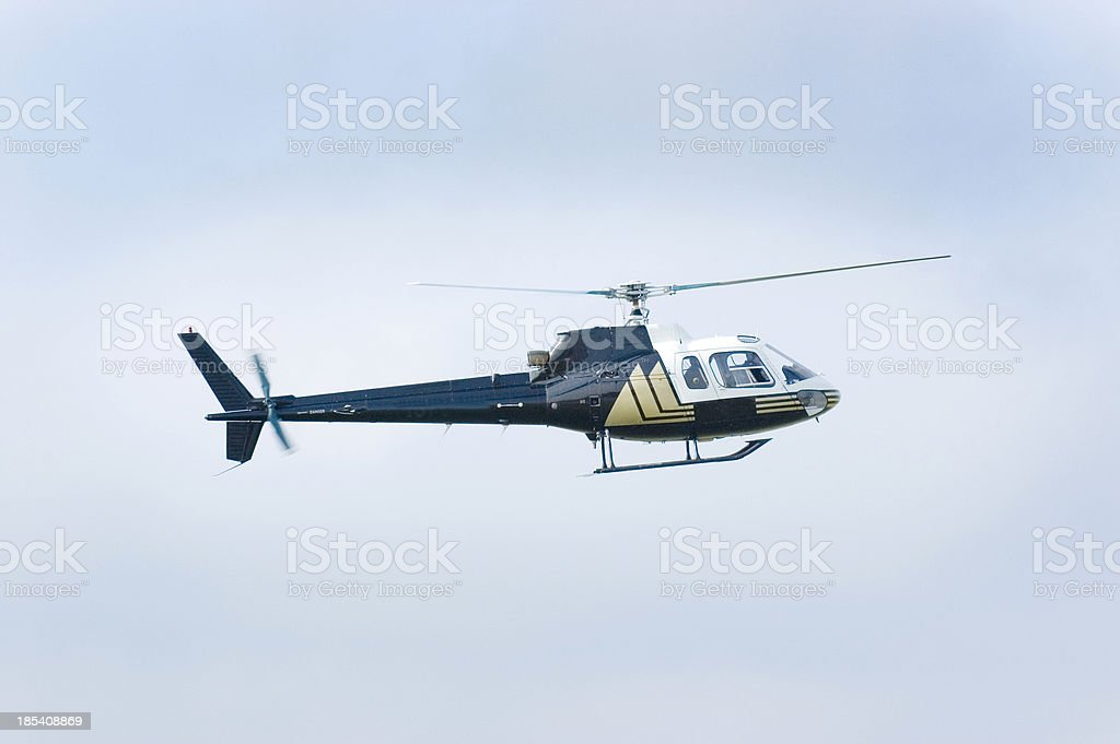 Corporate Helicopter In Flight stock photo