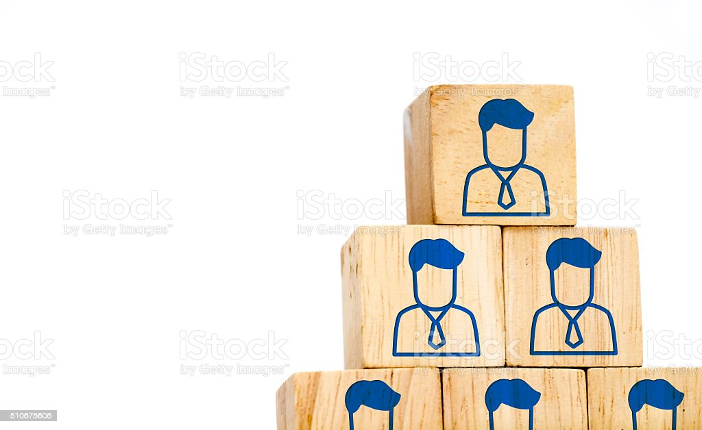 Corporate hierarchy profile icon on wood cube isolated on white stock photo
