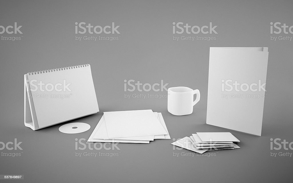 Corporate identity template on gray background stock photo