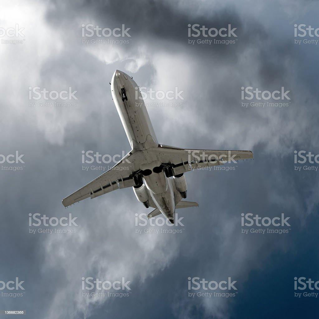 XXL corporate jet airplane landing in storm stock photo