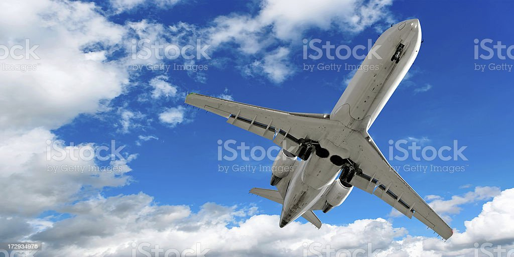 corporate jet airplane landing stock photo